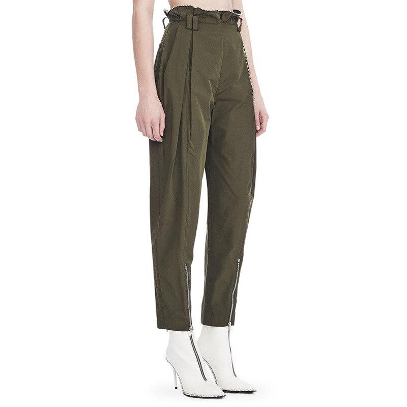 OXANT бисер большой размер шаровары для женщин молния армейский зеленый длина лодыжки брюки женские брюки с высокой талией повседневные - 2