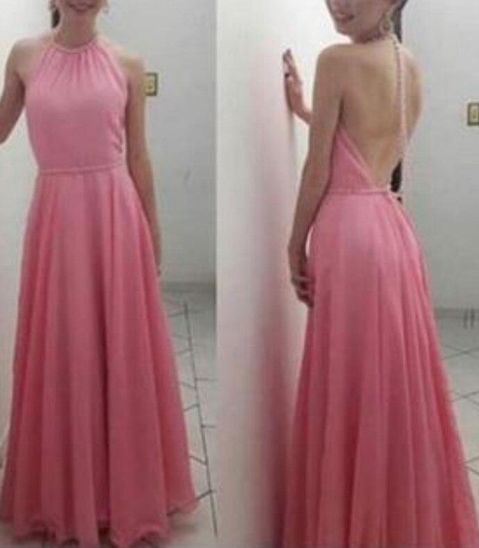 Belles robes de bal dos nu en mousseline de soie rose, belles robes roses, robe formelle