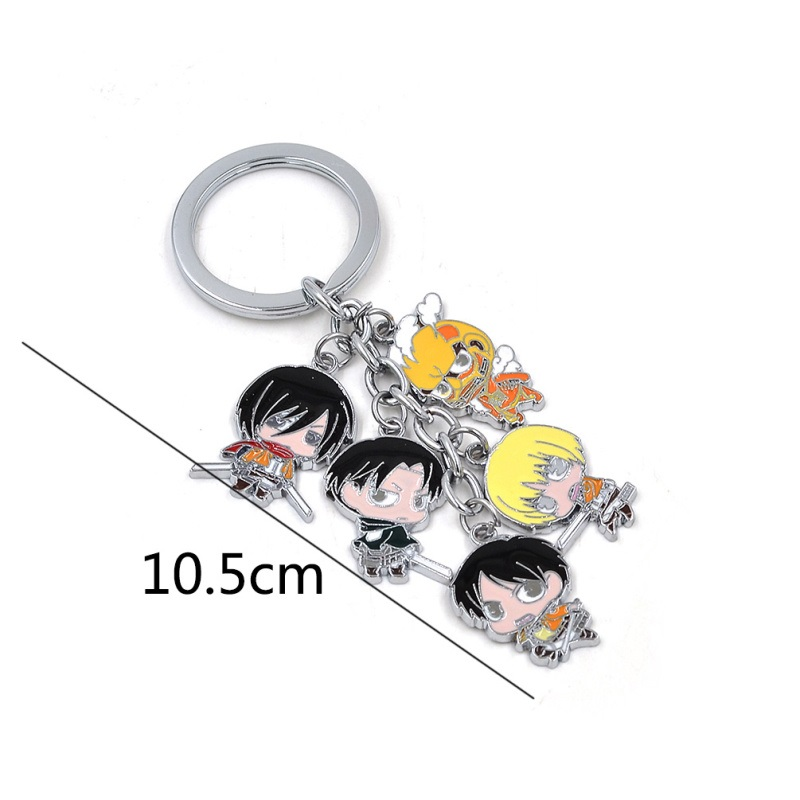 Lychee 1 piece Hot Japan Anime Attack on Titan Character 5 Pendant Key Chain Hanging Key Ring