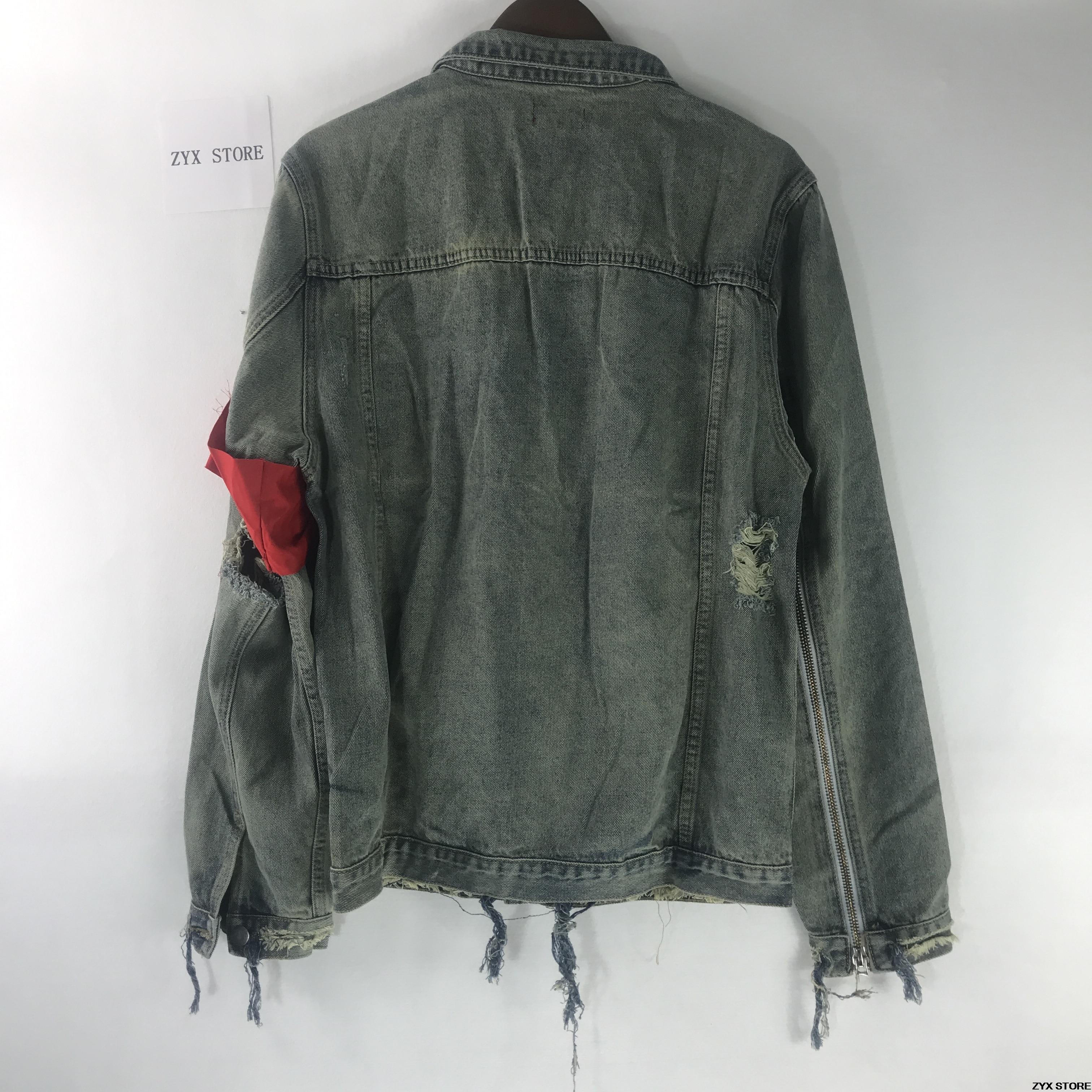 Deux Jeans Manteau Hiphop Zipper 2017 Jakcet Cassé Denim Destory Vestes Femmes Trou 424 Manches Streetwear Quatre Hommes XgqER