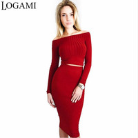 LOGAMI Long Sleeve Off Shoulder Women Bodycon Dress Autumn Winter Two Piece Set Dress Party Dresses