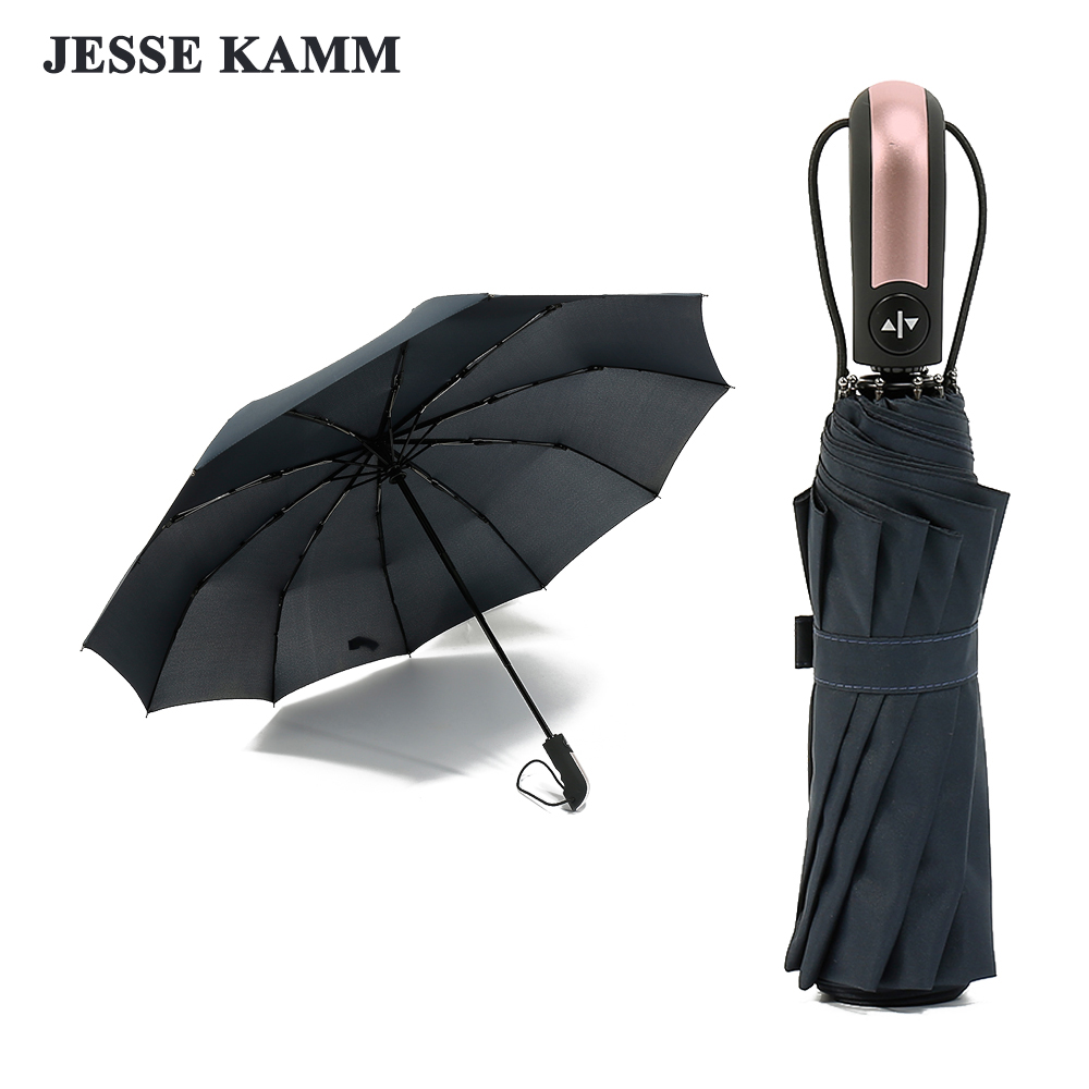 JESSE KAMM 2018 New Arrive Pink Handle Auto Open Auto Close Rain Umbrella 23' 10 Spokes Large Strong Pongee Fiberglass 2 people