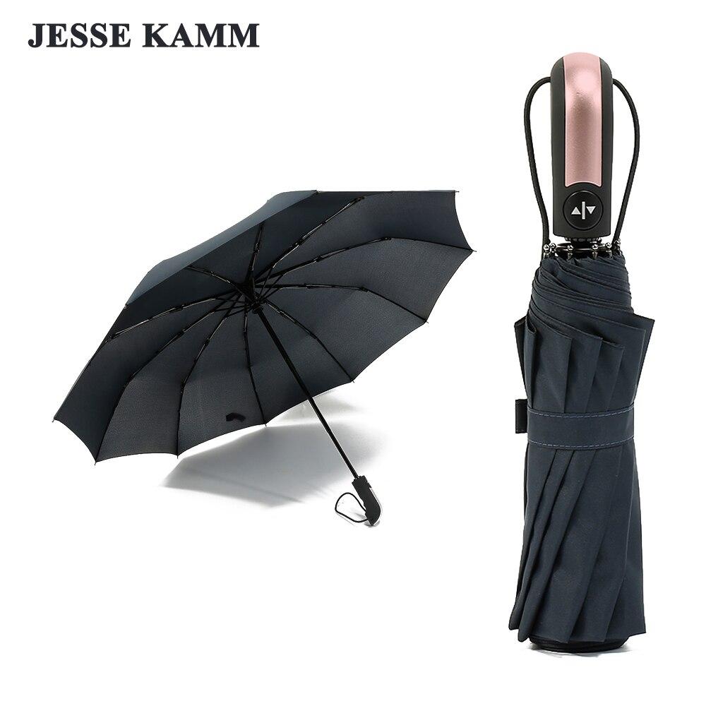 JESSE KAMM 2018 New Arrive Pink Handle Auto Open Auto Close Rain Umbrella 23' 10 Spokes Large Strong Pongee Fiberglass 2 people