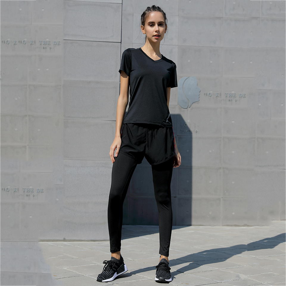 affa6786067f66 Women Compression Running shirts+Pants Clothing Tights Female Exercise  Sports Gym Leggings Fitness Jogging Trousers Yoga sets -in Running Sets  from Sports ...