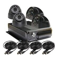 Free Shipping 4Pin 4CH Van Truck Car Rear View Camera Mobile DVR Kit Video Audio Input H.264 G-sensor 256GB SD Car DVR Recorder