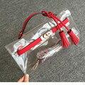 Высокое качество симпатичные пластиковые мешки прозрачный сцепления конфеты цвет сумки сцепления женщин небольшой кожаный мешок лоскутное