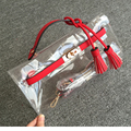 High quality cute plastic bags transparent clear clutch candy color handbag clutch women small leather patchwork bag