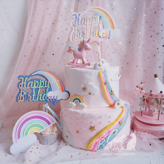 Pink Blue Biling Rainbow Cloud Unicorn Quot Happy Birthday