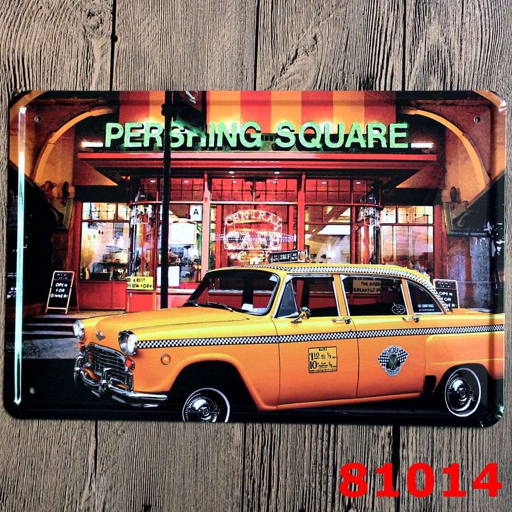 Yellow car tin signs metal plaque diner and restaurant for Diner home decor
