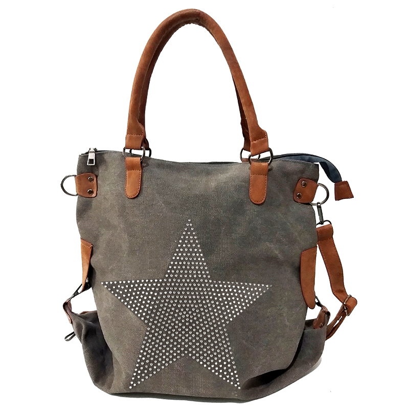 Meloke 2018 High Quality Diamond Star Canvas Shoulder Bags Fashion Leather Handel Multifunctional Bags Large Size Bags