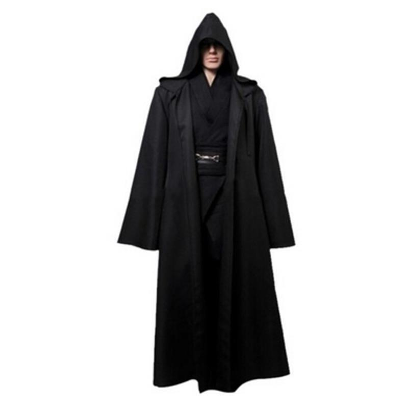 1 PC New Darth Vader Terry Jedi Black Robe Jedi Knight Hoodie Cloak Halloween Cosplay Costume Cape For Adult 821003