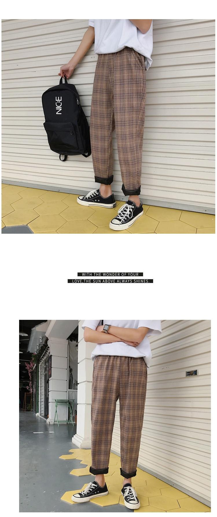 LAPPSTER Streetwear Yellow Plaid Pants Men Joggers 19 Man Casual Straight Harem Pants Men Korean Hip Hop Track Pants Plus Size 27