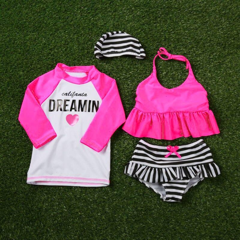 4pcs Girls Swimwear Top Tee Bikini +Dress +hat+shorts Kids Baby Girls  Bathing Suit Korean Brand Swimming Beach Clothes 12 Years aa167a679a0