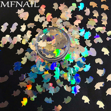 цены Nail Sequins Unicorn Shape 8MM Size AB Color Nail Glitter For Nail Art Decoration Body Art Spangles Nail Gel DIY Decoration 1BOX