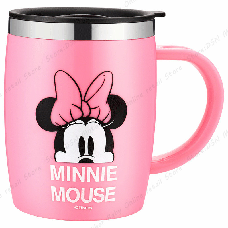 Two Pieces Genuine 420ML Disney Mickey Minnie Cartoon Cups Dual use Office Mugs Women Portable Pupils