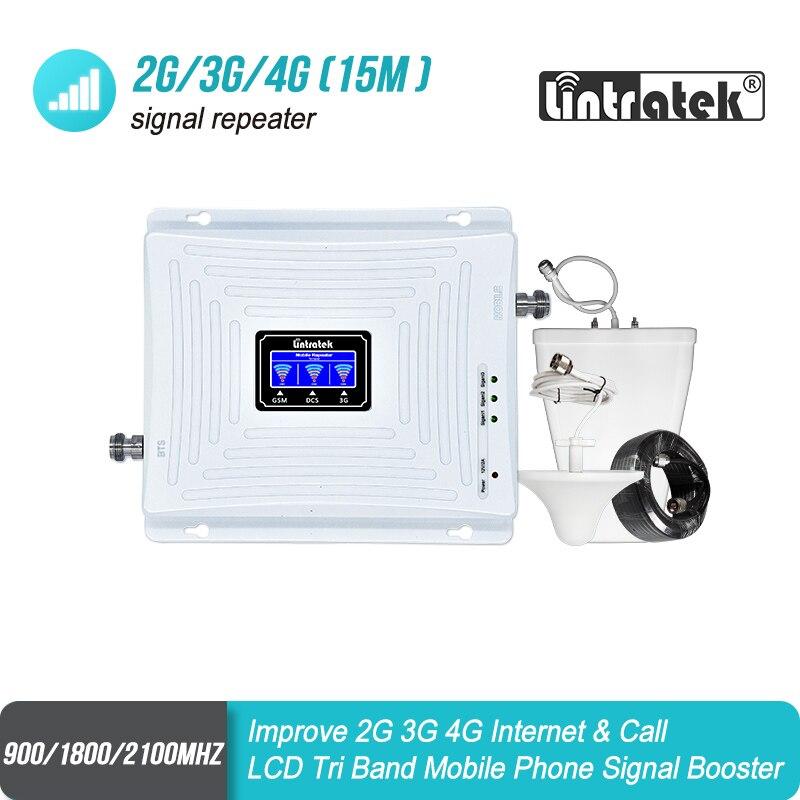 Lintratek 2G GSM 900 3G 2100 LTE 1800 Cellulaire Signal Booster Tri Bande Répéteur LCD Affichage Mobile Téléphone 4G Amplificateur Ensemble S8 + 2