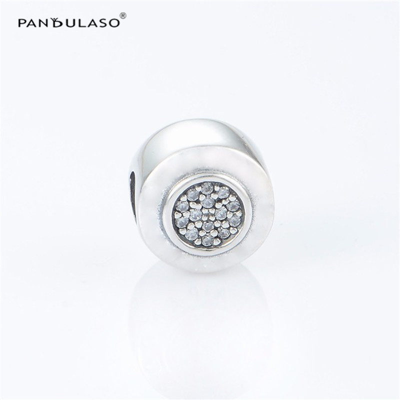Pandulaso Signature Brand Logo Beads for DIY Jewelry Making Fashion Clear CZ Crystal Beads Fit Women Silver Charms Bracelets