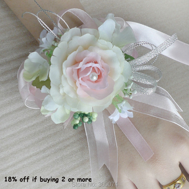 Aliexpress buy 1pc artificial flower for a wedding wrist ivorychampagne corsage ivorychampagne corsage main mightylinksfo