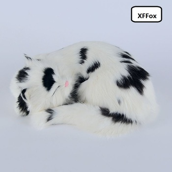cute real life sleeping cat model plastic&furs natural colour cat doll gift about 25x20x11cmxf1384