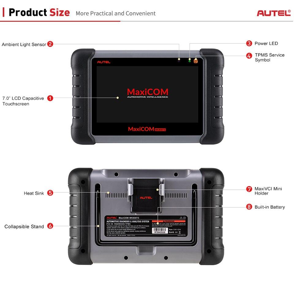 Image 5 - AUTEL MaxiCOM MK808TS MX808TS коннектор для прибора диагностики считыватель кодов TPMS программист OBD2 сканер MaxiCOM MK808 MX808 + MaxiTPMS TS601