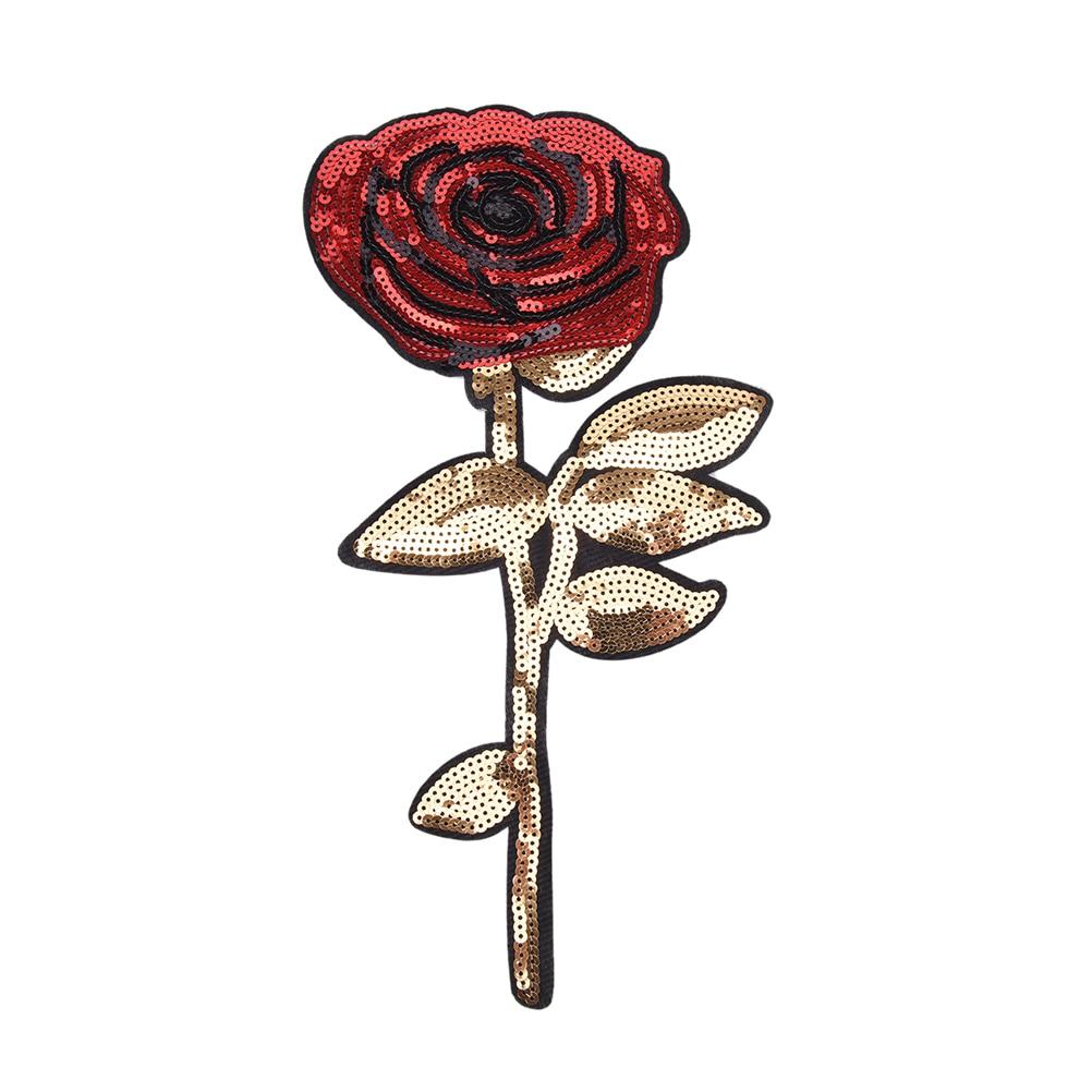 1Pcs 34.5*17 CM Patches Brand Shine Sequin Sticker Patches Rose Embroidery Motif Applique Garment Kids Women DIY Clothes Badge