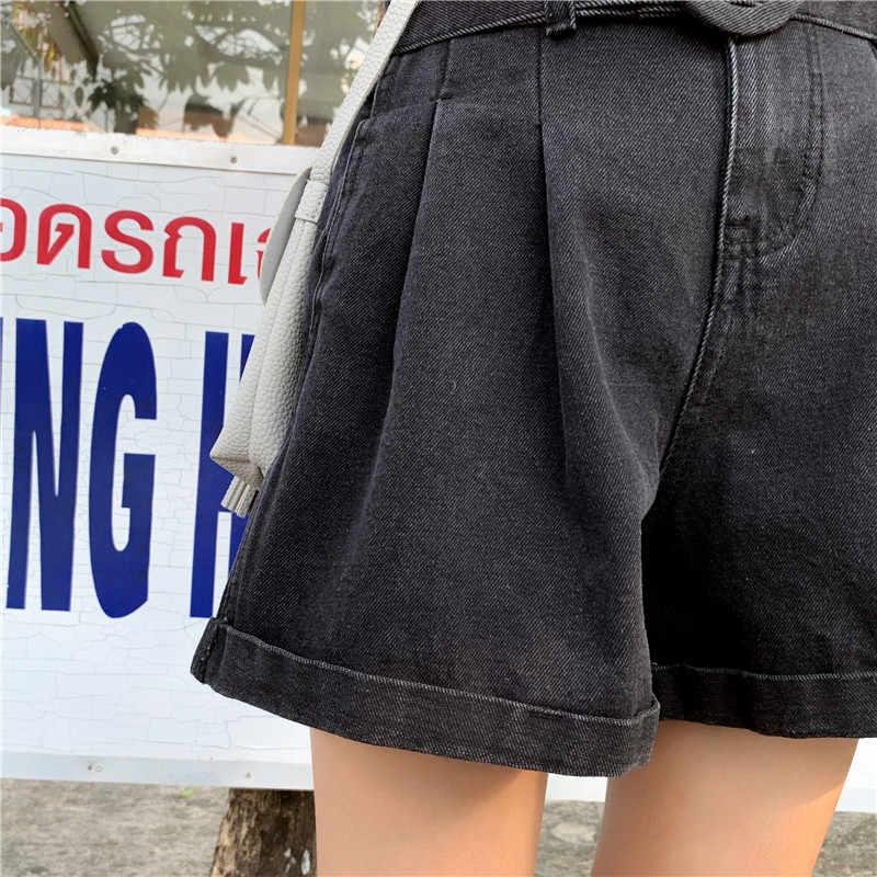 2019 летние женские шорты, модные новые свободные женские джинсовые шорты больших размеров с высокой талией, тонкие женские шорты WIN804