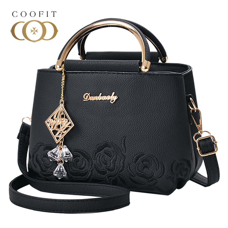 Coofit Ladies Handbag Small Fashion Rose Flower Embroidery Top Handle Bags Women Casual Shoulder Bag All Match Crossbody Bags thailand tide brand platinum all match female bag stereo flower pearl diamond shoulder bags platinum small bag