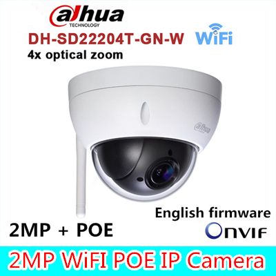 Original dahua DH-SD22204T-GN-W WiFI IP 2MP HD Network Mini PTZ Dome 4x optical zoom POE wireless Camera SD22204T-GN-W dc v100 15mp cmos digital camera w 5x optical zoom 4x digital zoom sd slot pink 2 7 tft