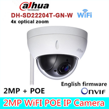Original dahua DH-SD22204T-GN-W WiFI IP 2MP HD Network Mini PTZ Dome 4x optical zoom POE wireless Camera SD22204T-GN-W