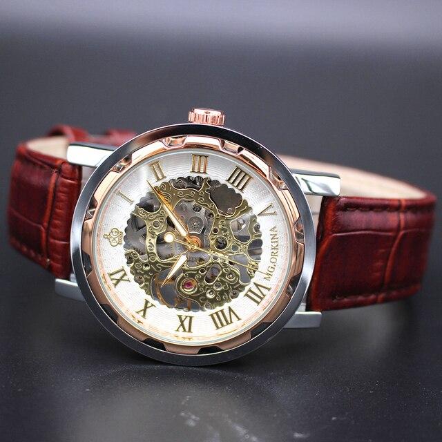 ORKINA روز الذهب الذكور ساعة الرجال Relogios الهيكل العظمي للرجال ساعات الأعلى العلامة التجارية الفاخرة Montre ساعة يد جلدية الرجال الميكانيكية ووتش