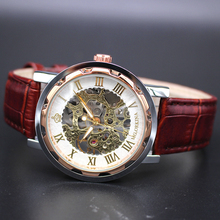 ORKINA złota róża mężczyzna zegar mężczyźni Relogios szkielet męskie zegarki Top marka luksusowe Montre zegarek z paskiem skórzanym męski zegarek mechaniczny