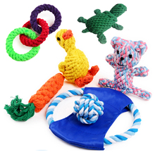 Small Dog Chew Toy Cotton Rope Knot Ball Puppy Cat Pet Play Training Toy Interactive Toy Teething Frisbee Carrot Bite Resistant