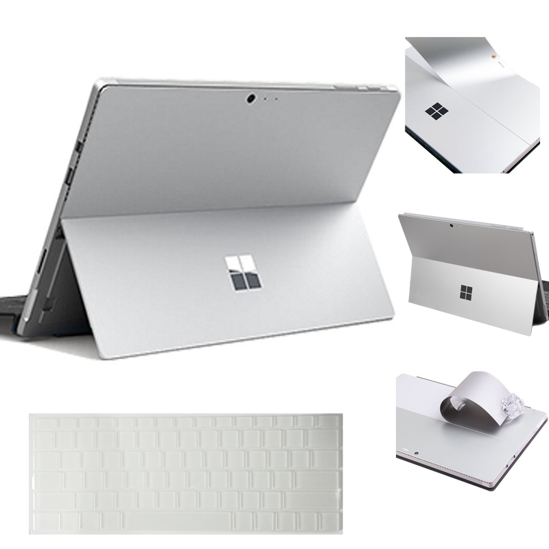 Silver Laptop Sticker for Microsoft Surface Pro 4 Bubble Free Removable Decals with Ultra Thin Clear TPU Keyboard Skin US Layout leather