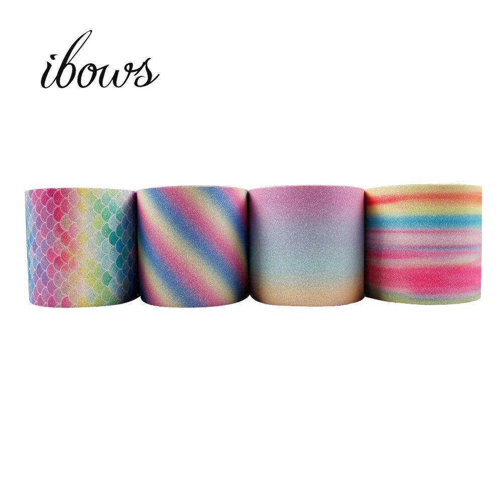 En gros 50Y 75mm paillettes ruban dégradé couleur Chunky en cuir tissu bricolage cheveux arcs emballage cadeau à la main matériaux décoratifs