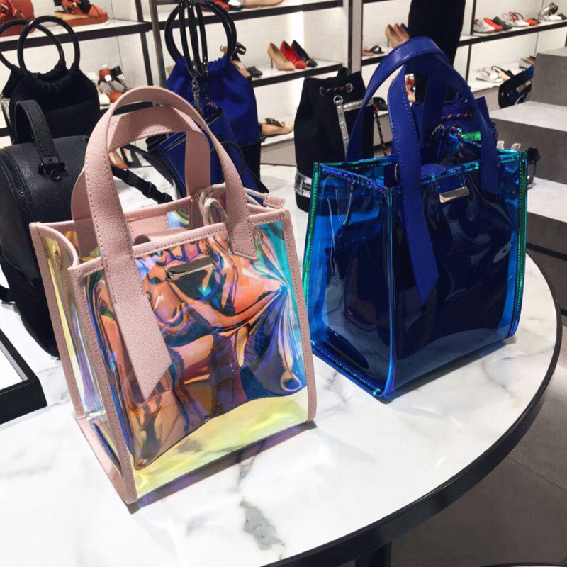 One shoulder handbag 2018 new laser portable bucket bag