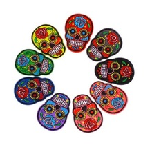 5pcs/lot Iron On Clothes Patches DIY Flowered Skull Embroidered For Clothing Fabric Badges Sewing