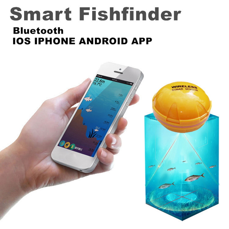 JOSHNESE Brand 1*Fishfinder Wireless Sonar Fish Finder Sea Lake Fish Detect iOS Android App Findfish Sounder Free Shipping! 2018 phone fishfinder wireless sonar fish finder depth sea lake fish detect ios android app findfish smart sonar sounder xnc