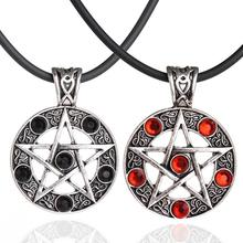 Retro Men Pentagram Black Red Star Round Crystal Pendant Leather Cord Necklaces For Male Charm Jewelry Accessories For Women Men