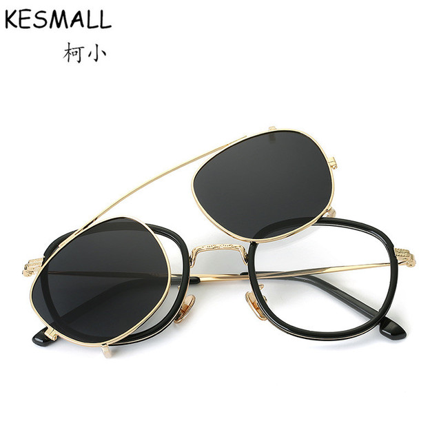 9f10612869fb Fashion Eyeglasses Frame Magnetic Clip On Glasses 2 In 1 Women Men Driving  Clip On Sunglasses Magnet Myopia Glasses Frame YJ786