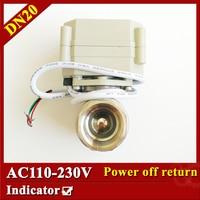 NO NC 3 4 Full Port Stainless Steel AC110V 230V Actuated Ball Valve BSP NPT For