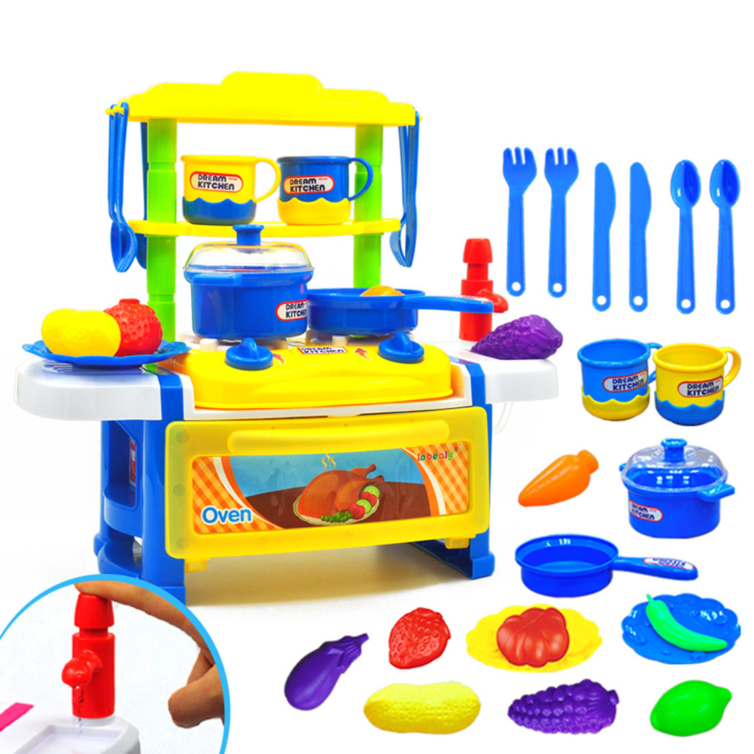 23Pcs/Set Children Cooking Play Flowing Water Kitchen Toys Pretend Play Home Educational Toy With Sound And Lights Effect