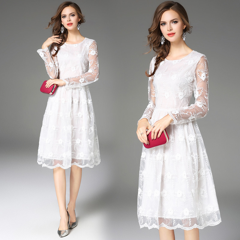 White Lace Short Bridesmaid Dresses O-Neck Full Sleeves Dress For Wedding Party Elegant A-Line Knee-Length Gown Vestido Madrinha