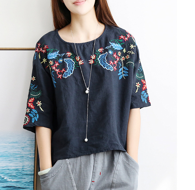 Women Summer Loose Plus Size Cotton and Linen Short Sleeve   Shirt   Ethnic Mori Girl Casual Floral Embroidery   Blouse     Shirt   Tunic