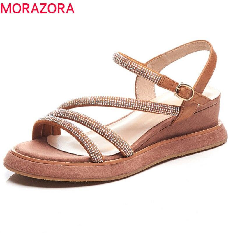 MORAZORA 2019 新到着の女性のサンダルスエード革の夏の靴クリスタルプラットフォームウェッジシューズ女性パーティー結婚式の靴  グループ上の 靴 からの ハイヒール の中 1