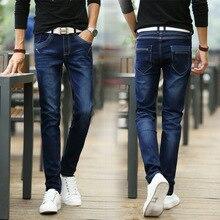 Новое поступление молодежные мужчины упругие джинсы мода лоскутное уличной одежды all-матч синий джинсовые брюки