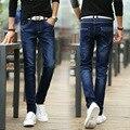 Nova chegada homens jovens de jeans moda patchwork moda de rua de todos os jogo azul denim calças