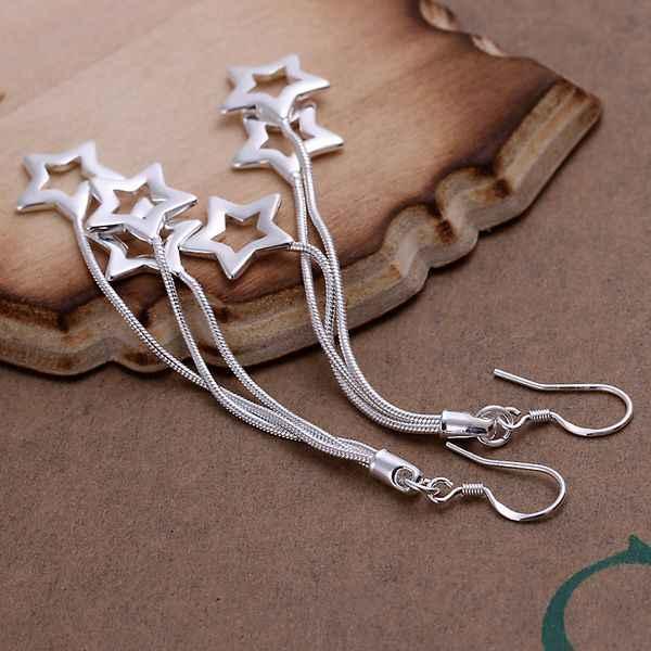 תכשיטים באיכות גבוהה הסיטוניים 925 תכשיטי כסף מצופה SMTE161 טריפל הולו כוכבים עגילים לנשים מתנה הטובה ביותר