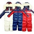 2016 Rusia Invierno Ropa Set Niño Niña bebé niños Abrigos de Piel Chaquetas de Traje de esquí a prueba de Viento Caliente + Bib Pantalones de esquí infantil conjunto