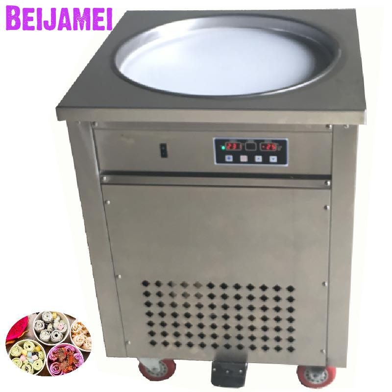 BEIJAMEI High quality single round fry ice cream maker roll 110v 220v thailand rolled fried ice machine priceBEIJAMEI High quality single round fry ice cream maker roll 110v 220v thailand rolled fried ice machine price