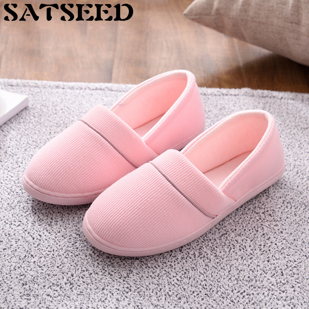 2017 New Thin Cotton Women Confinement Cotton Fabric Slippers Summer Breathable Lovers Indoor Non Slip Soft Bottom Flat Shoes